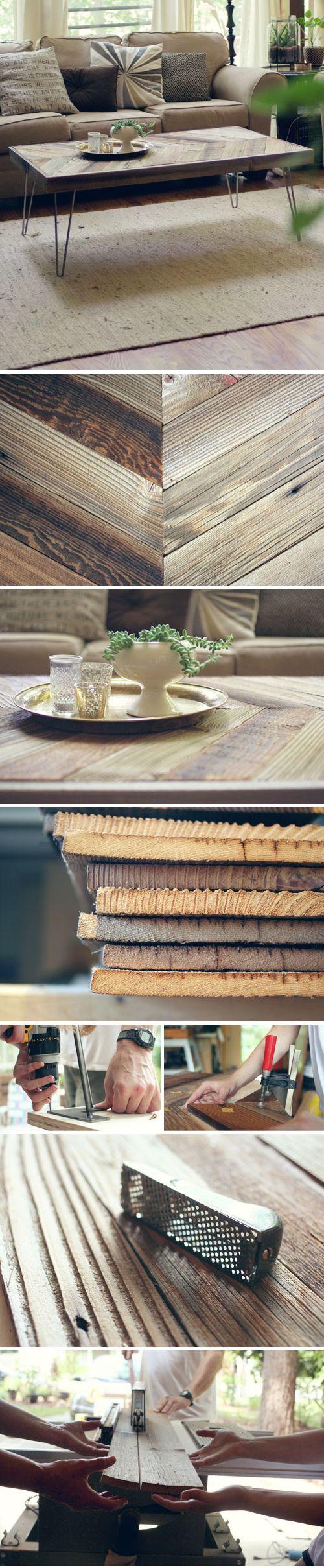DIY: Herringbone Barn Wood Coffee Table