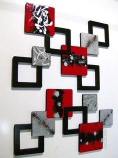 2pc Red Black Gray Geometric Squares Wall Sculpture Hanging Over 4ft