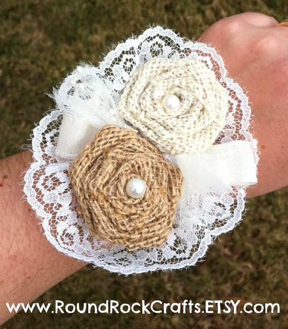 Custom Burlap 2 Rose Corsage  Mixed color by RoundRockCrafts, $22.00