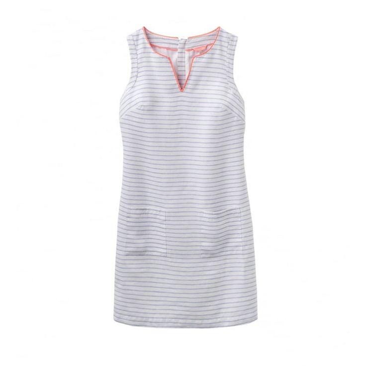 New Joules Lena Linen Dress Bright White Stripe 20 UK/16 US Womens Dress #Joules #Dress