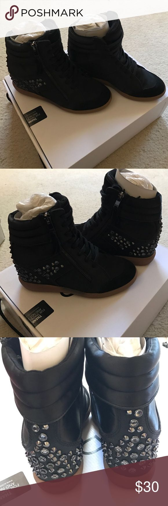Black high top studded sneakers Black high top studded sneakers. New condition Aldo Shoes Sneakers