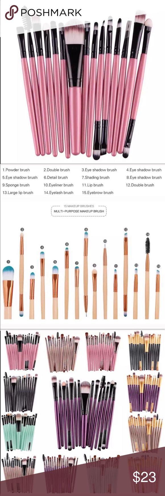 15pcs Makeup Brushes Set Professional Make-up Brushes Set 15 pcs  Handle Materia…