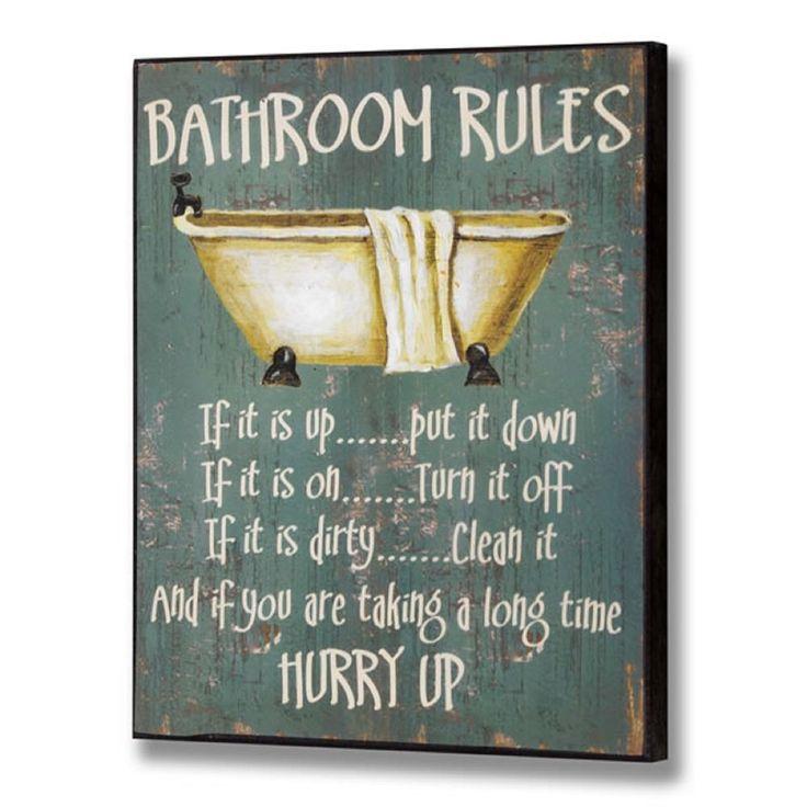 Wooden Vintage Bathroom Rules Sign Shabby Wall Door Toilet