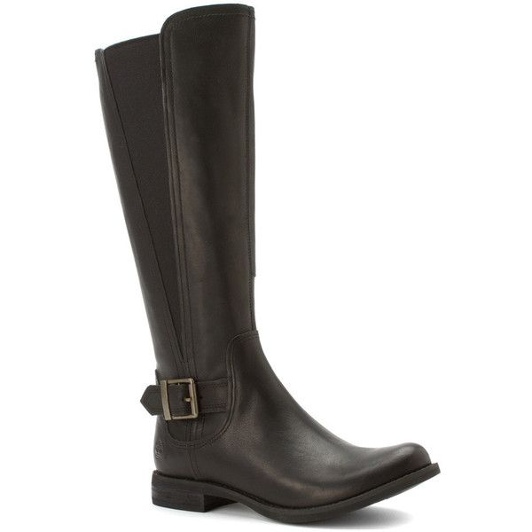 Timberland Women's Savin Hill All Fit Tall Boot Boots (260 CAD) ❤ liked on Polyvore featuring shoes, boots, black smooth, knee-high boots, black low heel boots, wide calf boots, timberland boots, wide calf knee high boots and knee boots