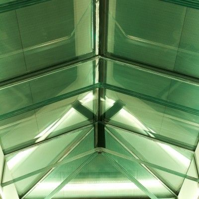Try adding green LED lights to your glass beam supported roof lights!