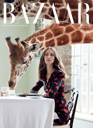 shooting: 10-4 AFRICA for HARPER'S BAZAAR UK #giraffe - totally love it! / Breakfast or tea time with a giraffe = the stuff dreams are made of!