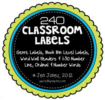 Classroom Set of Labels: Library & Genre Labels, Word Wall