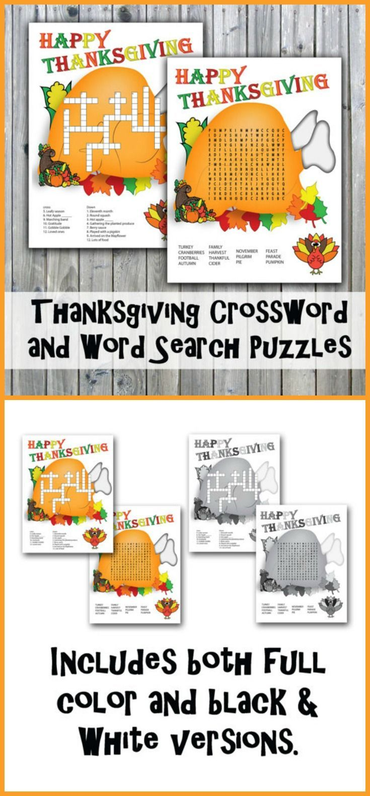 Game with shapes of different colors crossword - Thanksgiving Crossword Puzzle And Word Search Party Game Printables Instant Download Affiliatelink