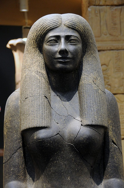 The statue of Lady Sennuwy dated from the Middle kingdom period and found in Kerma Sudan and now housed in Boston Museum of fine arts.
