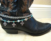 """Boot Candy Turquoise Suede Braided  and Crystal Rhinestone Cross Bracelet for your Boots....""""FREE SHIPPING"""". $25.00, via Etsy."""