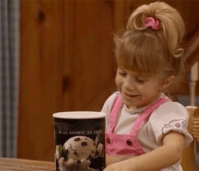 Last week I discovered the amazing Gimme Pizza song by the Olsen Twins, which led me to other strange and wonderful Michelle Tanner images and gifs. What I discovered in this very important research is that this little girl really appreciated food, and she has some sage advice to give the world.