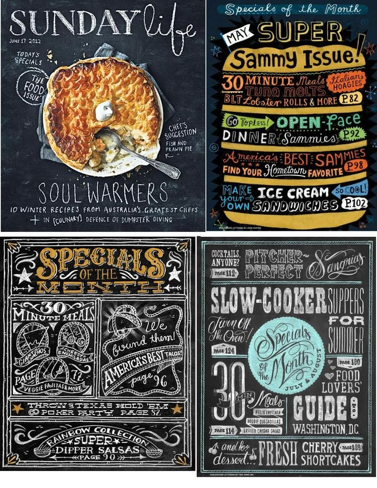 Pinecone: chalkboard art menus-  i love the upper right one, the menu in the shape of an item, i could see it for a taco or fried chicken