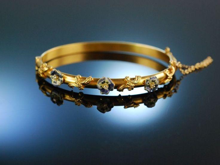 USA um 1900! Exquisiter Armreif Gold 585 Email Stiefmütterchen Diamanten