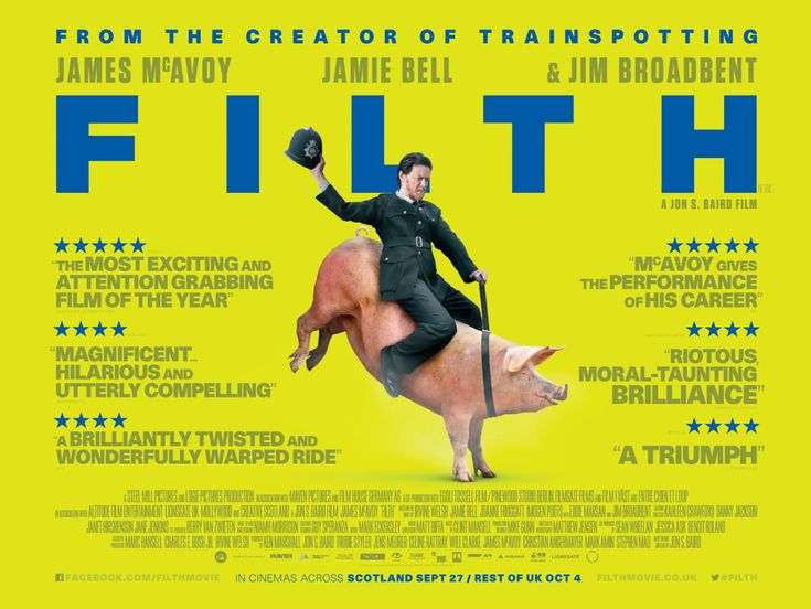 Filth Poster Featuring James McAvoy Riding a Pig