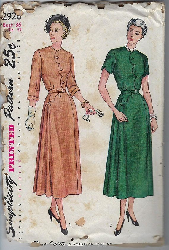 58861a454f211 Vintage Simplicity Sewing Pattern One Piece Dress Scalloped Detail 2926  Bust 36 Hip 39 Cut Complete 1940s $15.00 #champagnvintagechic #sewing  patterns ...