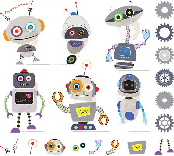 Robots Clip Art Images Cute Grey Gray Robots Birthday Invitation Digital Scrapbook Robot Clipart for Kids DIY card INSTANT DOWNLOAD 10481