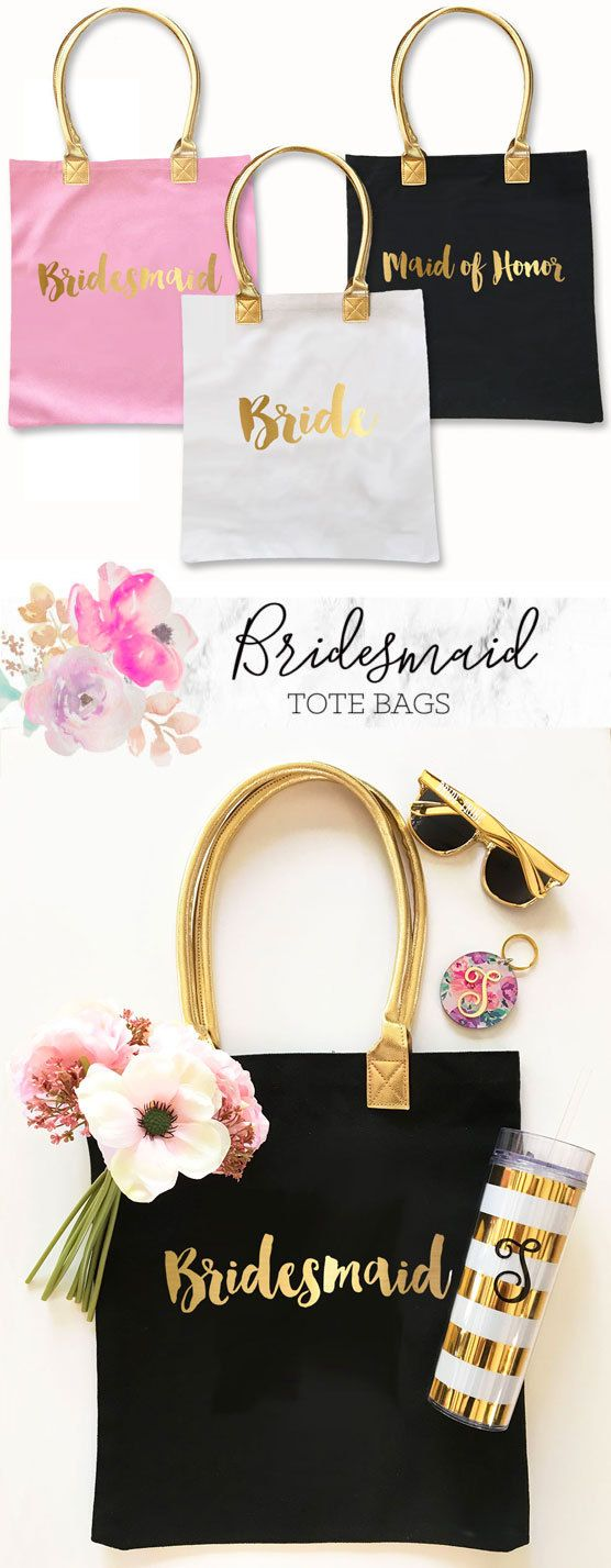 Cute wedding Bridesmaid Tote Bags & Gifts to hold all your important essentials!