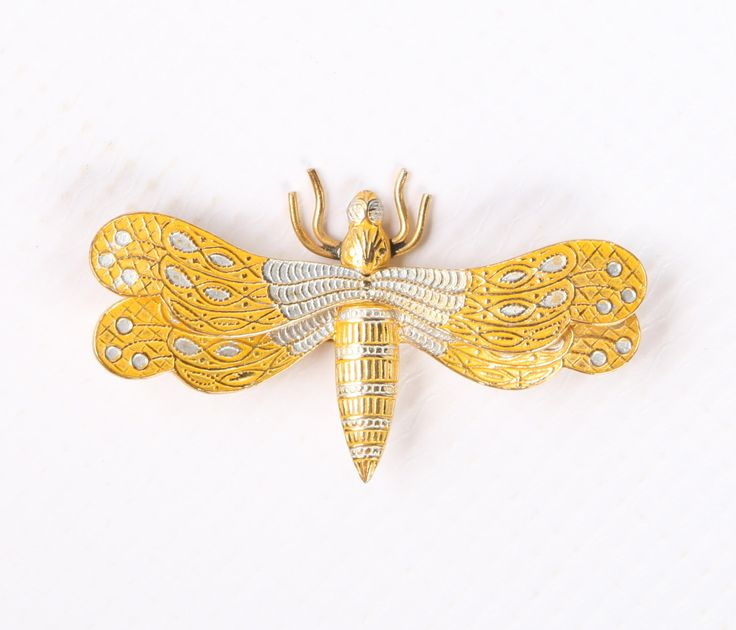 """1960s SPAIN Damascene Silver, Gold Enamel, Gold Tone Dragonfly Brooch, Excellent Cond., 2-1/8""""W X 1-1/4""""H, Roll Over Clasp, Marked SPAIN. by GwendalysaArts on Etsy https://www.etsy.com/listing/498525991/1960s-spain-damascene-silver-gold-enamel"""