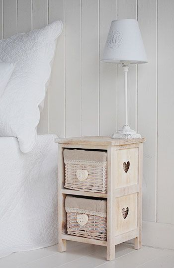 The Cottage Kids Range from The White Lighthouse. White bedroom furniture including bedside tables, desks and storage. Our finishing touches make for a  perfect children's bedroom.  A small narrow bedside table with cut out heart. Only 25cm