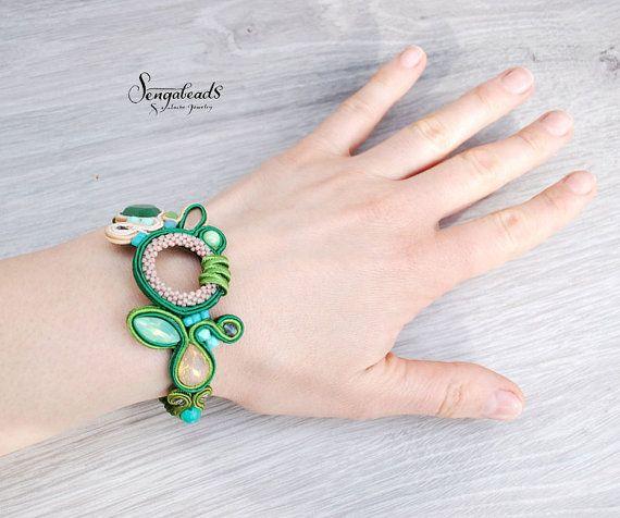 OOAK handmade soutache bracelet in ivy green. by Sengabeads