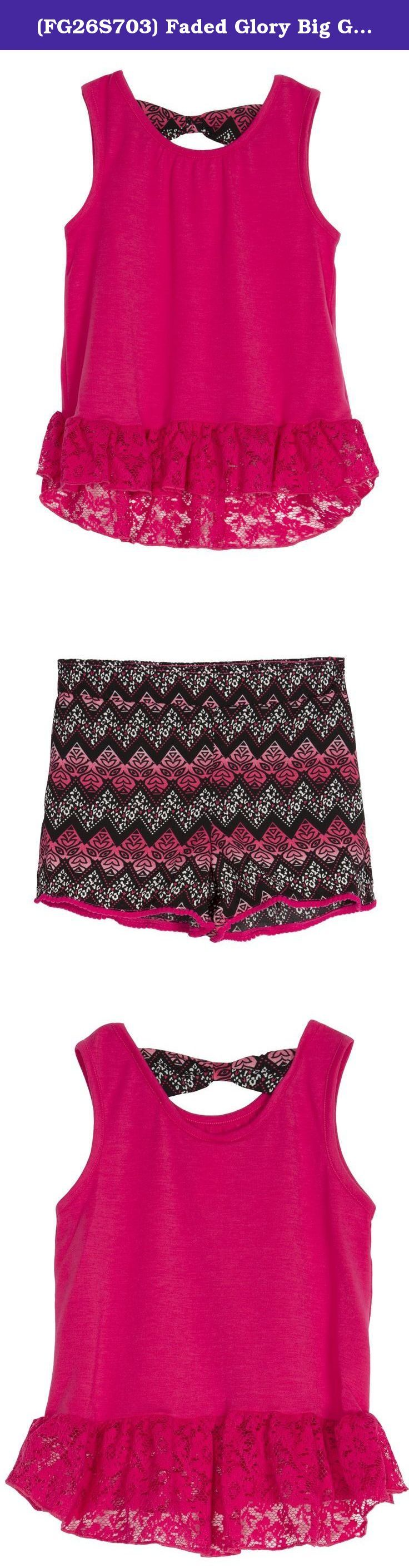 (FG26S703) Faded Glory Big Girls 2 Piece Print Challis Short Set in Fuchsia Size: 6/6X. QUALITY FABRICATION - Super soft and comfortable top is constructed from 95% Polyester Jersey with 5% Spandex for stretch. The bottoms are 100% Polyester Challis ( a durable, silk like fabric). DON'T FORGET THE TRIMMINGS - The top features a dyed to match lace flounce and the shorts have a ball fringe in the same color. FASHION FORWARD - but comfortable mixed media top and bottom set. SHARP PRINTS -...