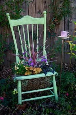 apple green chair planter