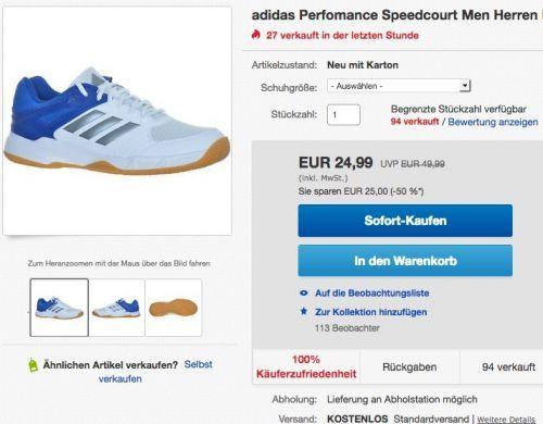 adidas Perfomance Speedcourt Herren Hallenschuhe - jetzt 44% billiger