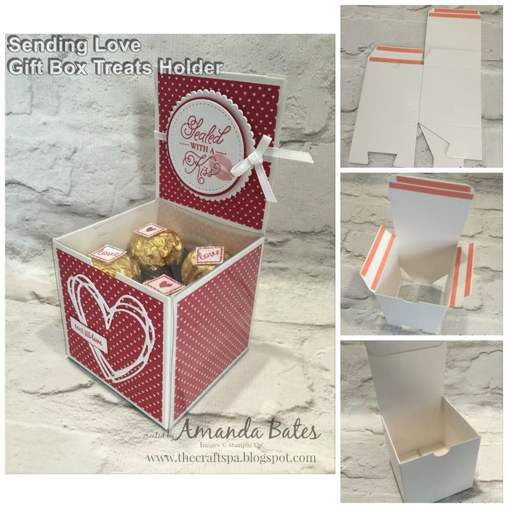 White Gift Box Treats Holder with Tutorial by Amanda Bates at The Craft Spa in the UK. Featuring Ferrero Rocher, Sending Love papers, Sealed with Love stamps & Sunshine Wishes dies