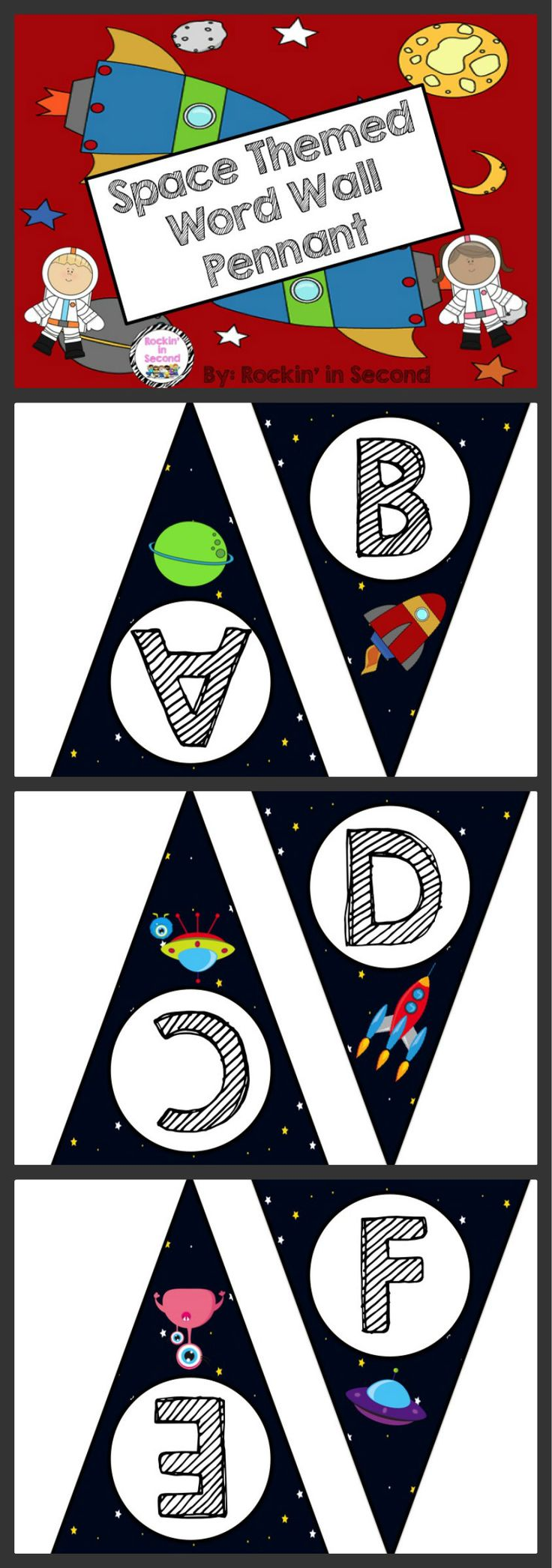 Space Themed Word Wall Pennant  Go out of this world with this space themed word wall letter pennant. Each pennant has a different item related to outer space. From planets, starts, aliens, astronauts, and many more.  Follow me on TPT for fun and exciting products and FREEBIES!
