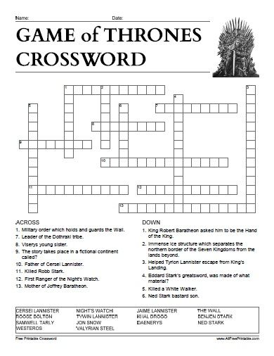 Free Printable Game Of Thrones Crossword Game Of Thrones
