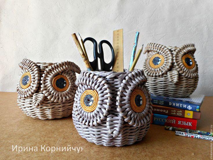 """Купить Плетеная корзинка, органайзер """"Такие разные совы"""" - органайзер, для школьника, Плетеная корзинка, сова"""