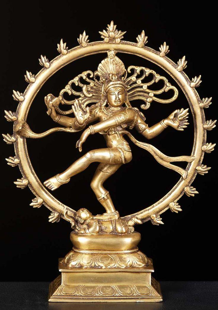 "Brass Gold Nataraja Statue 13"""