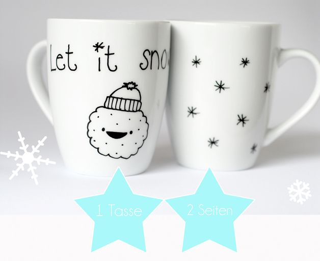"Tassen ""Let it snow"" // cups by Trudl&Traudl via DaWanda.com"