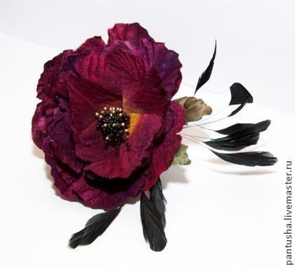мак шелк - ярко-красный,черный,бордо,брошь,заколка,ободок,цветы,шелк,свадьба