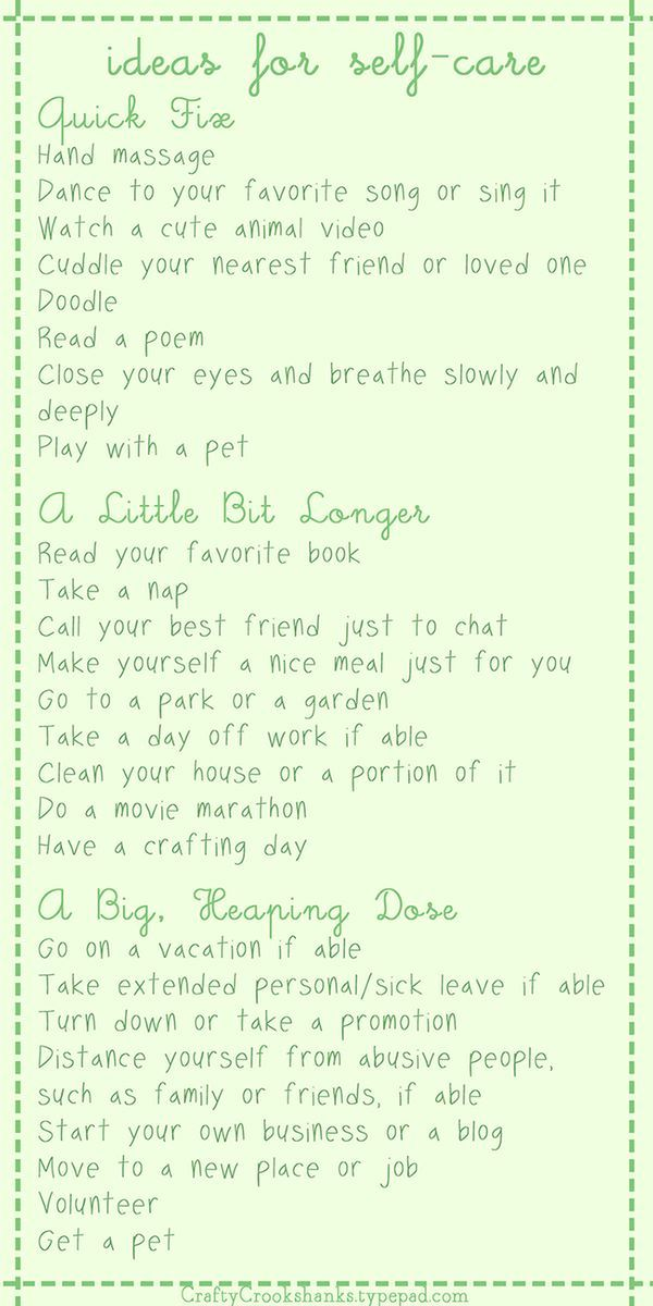 I love this self care list. Small, medium and large acts of self love. Takes away any excuse not to practice self care!