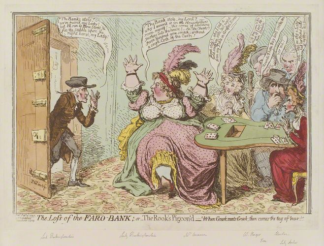 Faro's Ladys. 18th century illustration satirizing Lady Buckinghamshire being slapped with a fine for running a gambling table.