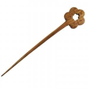 Tribal Clip Bun Pin Floral Design Handmade Wooden Hair Stick Pin Accessory