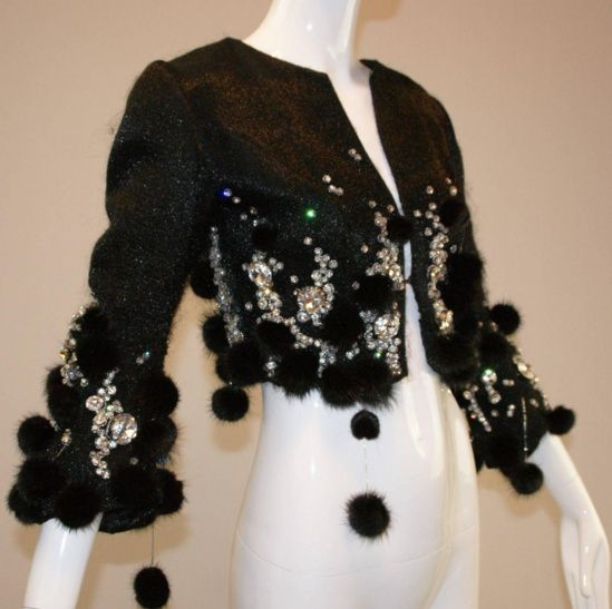 1964 Haute Couture Pierre Balmain Attributed Crystal Beaded Mink Cropped Jacket.png