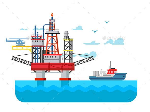 Drilling Rig at Sea by kit8 Drilling rig at sea. Oil platform, gas fuel, industry offshore, drill technology, vector illustration Vector files, fully …