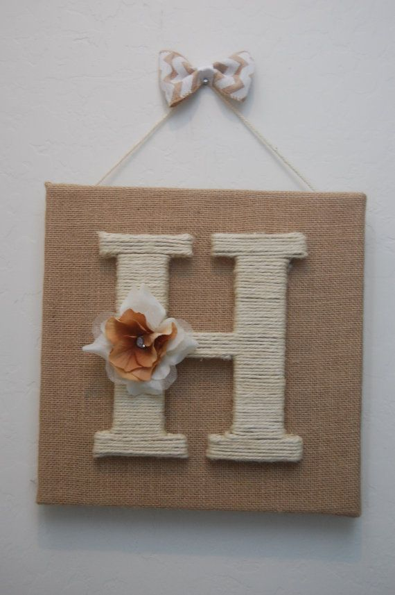 """8"""" white jute wrapped letter on burlap canvas. Mesures 12"""" x 12"""". Great wedding, christmas, baby shower gift. Totally customizable!"""