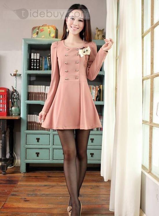 Korean Style Slim Long Sleeve Dress, $21.59
