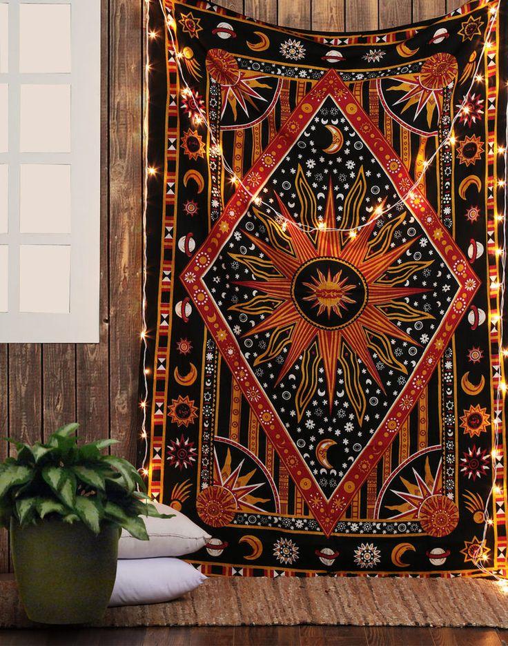 Sun Moon Stars Designer Tapestry Twin Duvet Cover Bohemian Mandala Bedding #Handmade #ArtDecoStyle