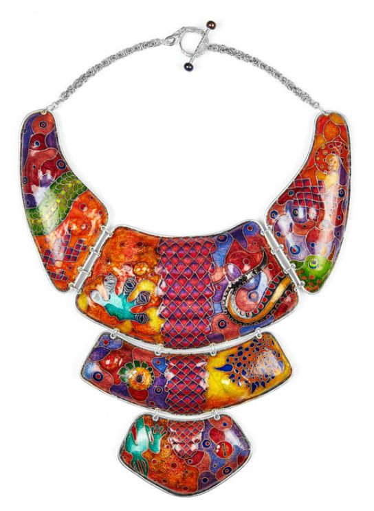 naomi nevill -- jewellery designer/maker 'Scale Armour' Brightly coloured large enamel collar necklace. The pattern comes from macro shots of lizards, these are deconstructed and collaged creating a colourful patchwork of scales. The pattern is then duplicated using cloisonné wiring and vitreous enamel #jewelry