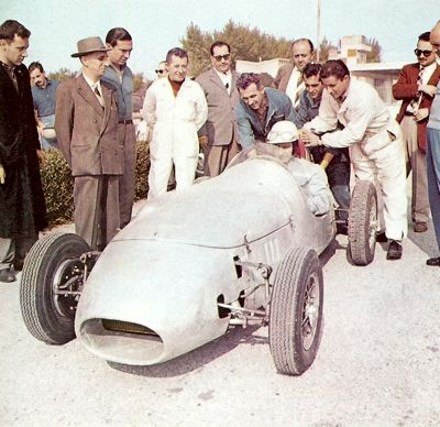 Fangio takes time out during his busy F1 schedule to test a Formula Junior Stanguellini at Modena in 1958