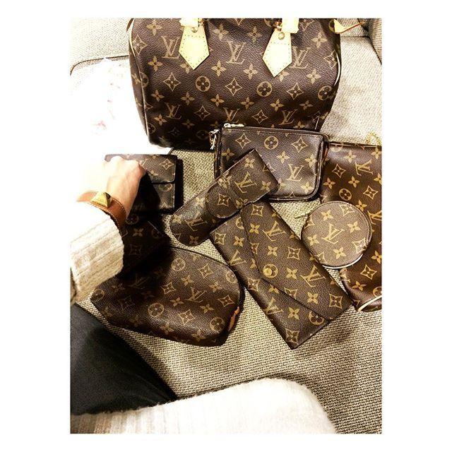 Louis Vuitton Pochettes and Speedy 25 Monogram.