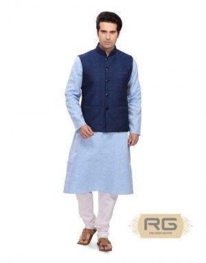 Mens Denim Blue Jute Polyester Wedding Footwear MJ015381