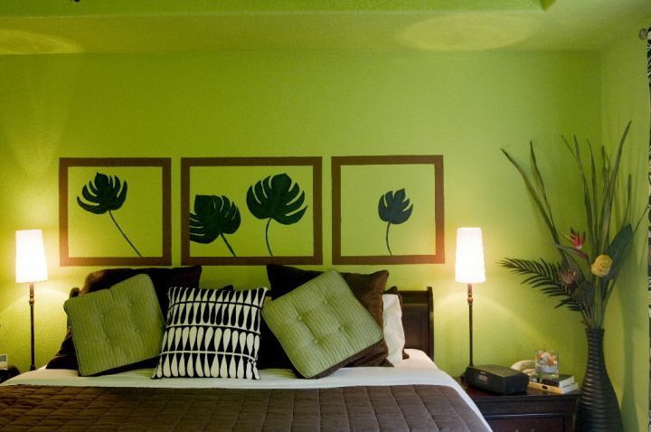 lime green bedroom with wall painting decor