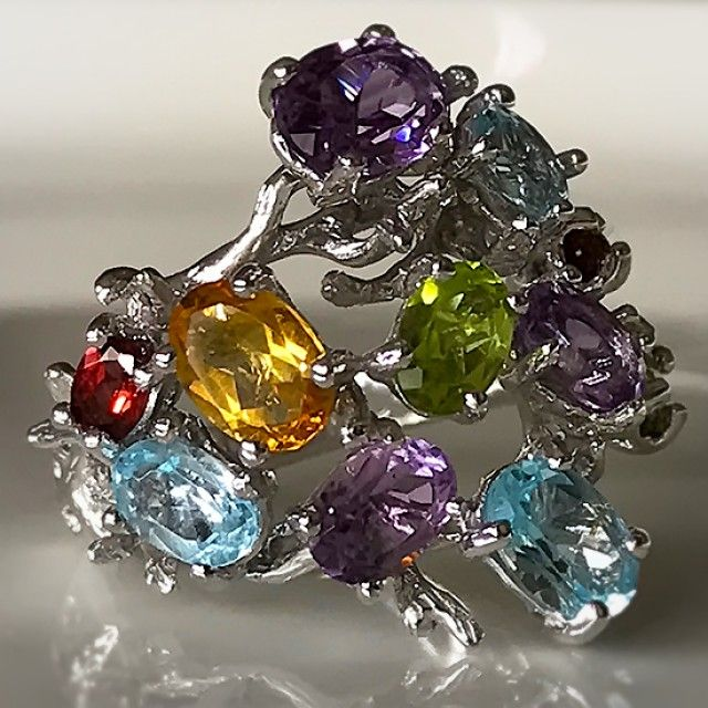 A Beautiful Branch ring of many Gems Size 8 Garnet Topaz Peridot