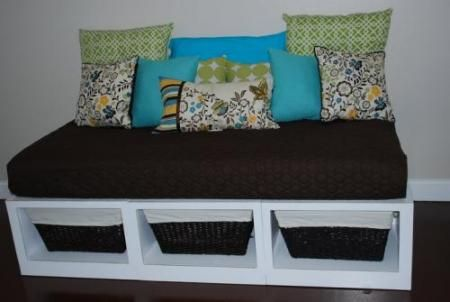 """DIY storage day bed. You build the boxes yourself. It is laid out for a twin mattress...but I WONDER if it could be readjusted a little for a left-over crib mattress and be used as a kind of """"bench"""" perhaps in a kid's room or office or something.... **hmmm**"""