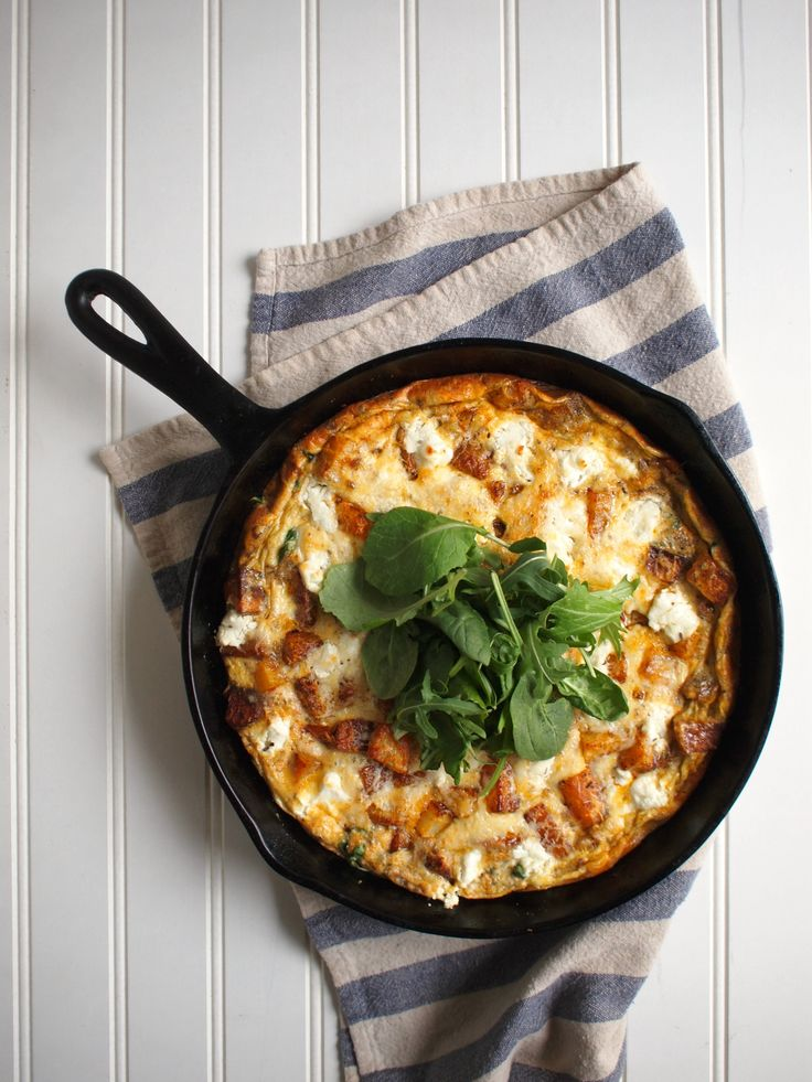 Roasted Potato, Greens, and Goat Cheese Frittata l Bloom Nourish